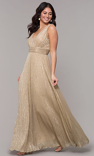 e363c35e64db Metallic Deep-V-Neck Long Prom Dress with Ruching