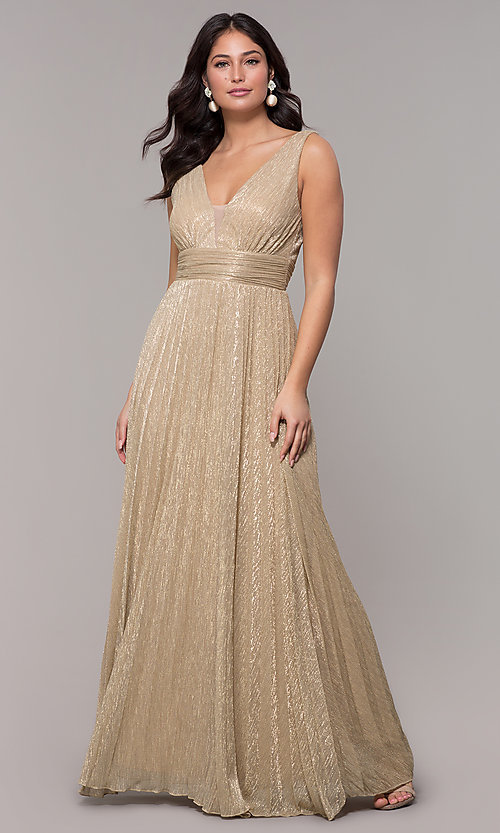 Image of metallic deep-v-neck long prom dress with ruching.  Style: MCR-3020 Detail Image 3