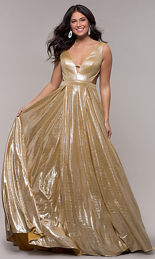 Long Metallic Designer Prom Dress with Cut Outs