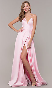 Image of multi-strap long JVN by Jovani v-neck prom dress. Style: JO-JVN-JVN67098 Front Image