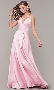 Image of multi-strap long JVN by Jovani v-neck prom dress. Style: JO-JVN-JVN67098 Detail Image 3