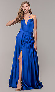 Image of multi-strap long JVN by Jovani v-neck prom dress. Style: JO-JVN-JVN67098 Detail Image 4