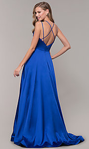 Image of multi-strap long JVN by Jovani v-neck prom dress. Style: JO-JVN-JVN67098 Detail Image 5