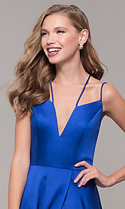 Image of multi-strap long JVN by Jovani v-neck prom dress. Style: JO-JVN-JVN67098 Detail Image 6