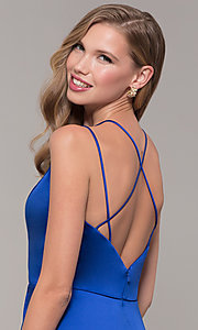 Image of multi-strap long JVN by Jovani v-neck prom dress. Style: JO-JVN-JVN67098 Detail Image 7