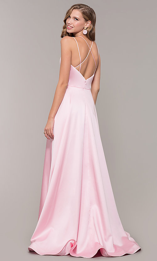 Image of multi-strap long JVN by Jovani v-neck prom dress. Style: JO-JVN-JVN67098 Back Image