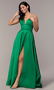 Image of long v-neck designer prom dress with beaded straps. Style: JO-JVN-JVN68314 Front Image