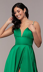 Image of long v-neck designer prom dress with beaded straps. Style: JO-JVN-JVN68314 Detail Image 1