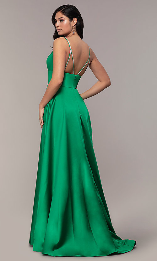 Image of long v-neck designer prom dress with beaded straps. Style: JO-JVN-JVN68314 Back Image
