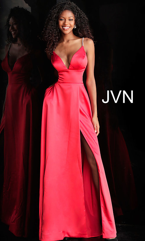 Image of long v-neck designer prom dress with beaded straps. Style: JO-JVN-JVN68314 Detail Image 3