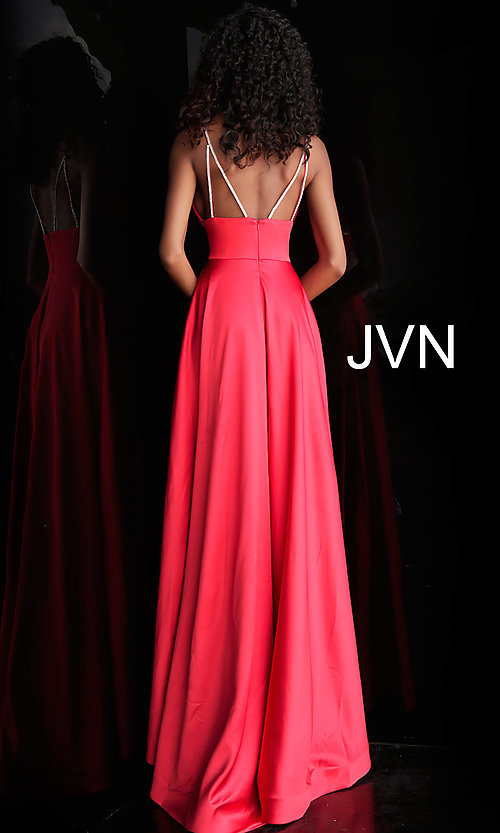 Image of long v-neck designer prom dress with beaded straps. Style: JO-JVN-JVN68314 Detail Image 4