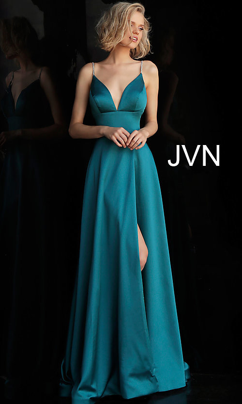 Image of long v-neck designer prom dress with beaded straps. Style: JO-JVN-JVN68314 Detail Image 5