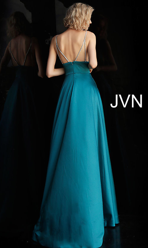 Image of long v-neck designer prom dress with beaded straps. Style: JO-JVN-JVN68314 Detail Image 6