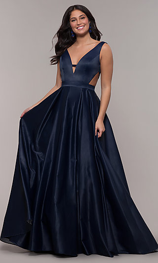 Long V-Neck Designer Prom Dress with Side Cut Outs