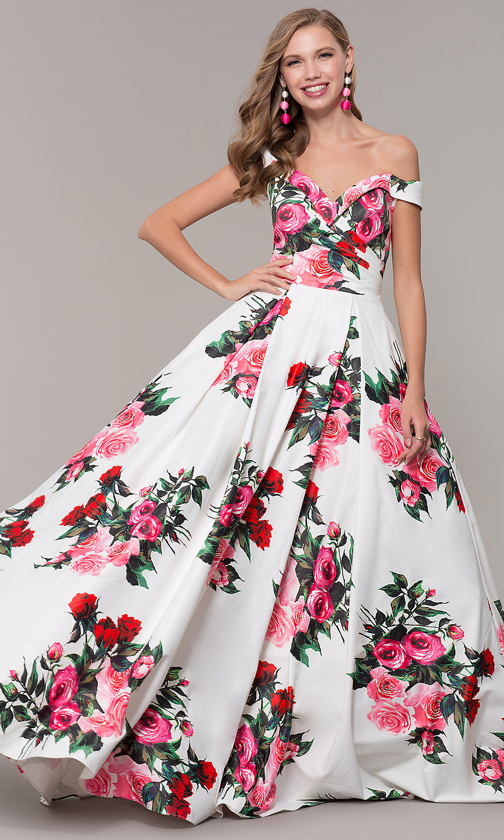 ddfcdcdc8218 JVN by Jovani Off-Shoulder Print Prom Dress - PromGirl