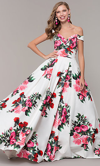 Floral-Print Off-Shoulder JVN by Jovani Prom Dress