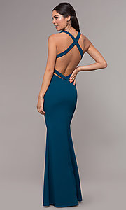 Image of long v-neck fitted open-back prom dress by PromGirl. Style: MCR-PL-3055 Back Image