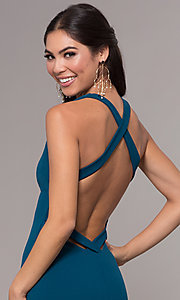 Image of long v-neck fitted open-back prom dress by PromGirl. Style: MCR-PL-3055 Detail Image 2
