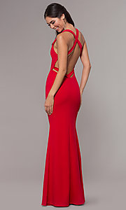Image of long v-neck fitted open-back prom dress by PromGirl. Style: MCR-PL-3055 Detail Image 5