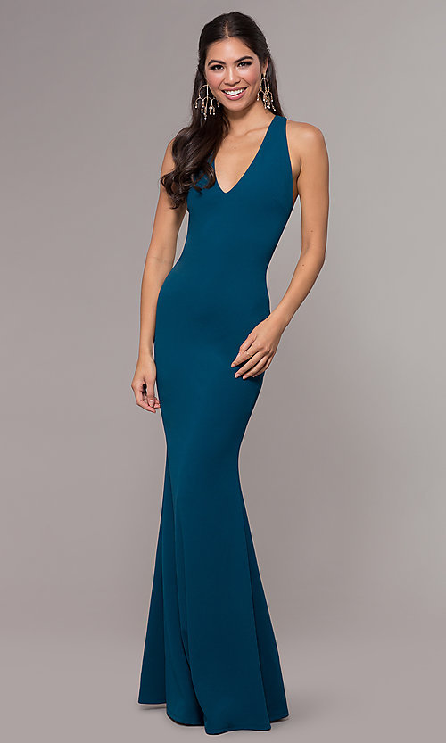 Image of long v-neck fitted open-back prom dress by PromGirl. Style: MCR-PL-3055 Front Image