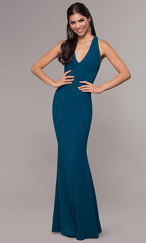 Image of long v-neck fitted open-back prom dress by PromGirl. Style: MCR-PL-3055 Detail Image 3