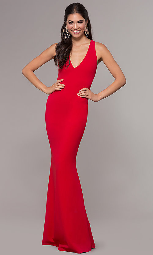 Image of long v-neck fitted open-back prom dress by PromGirl. Style: MCR-PL-3055 Detail Image 4