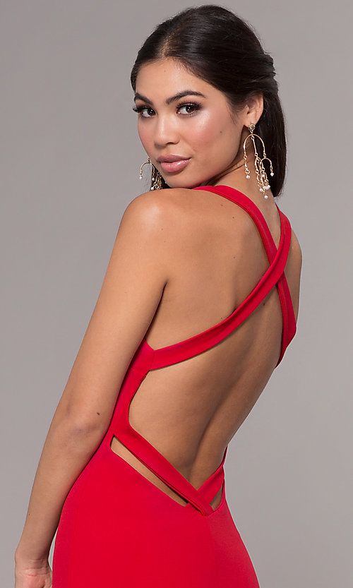 Image of long v-neck fitted open-back prom dress by PromGirl. Style: MCR-PL-3055 Detail Image 7