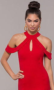 Image of high-neck cold-shoulder short prom dress by Simply. Style: MCR-SD-2661 Detail Image 5