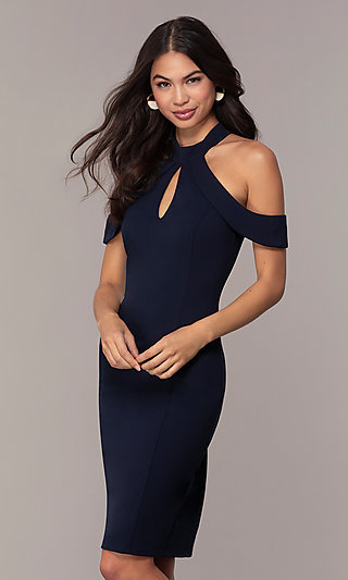 High-Neck Cold-Shoulder Short Prom Dress by Simply