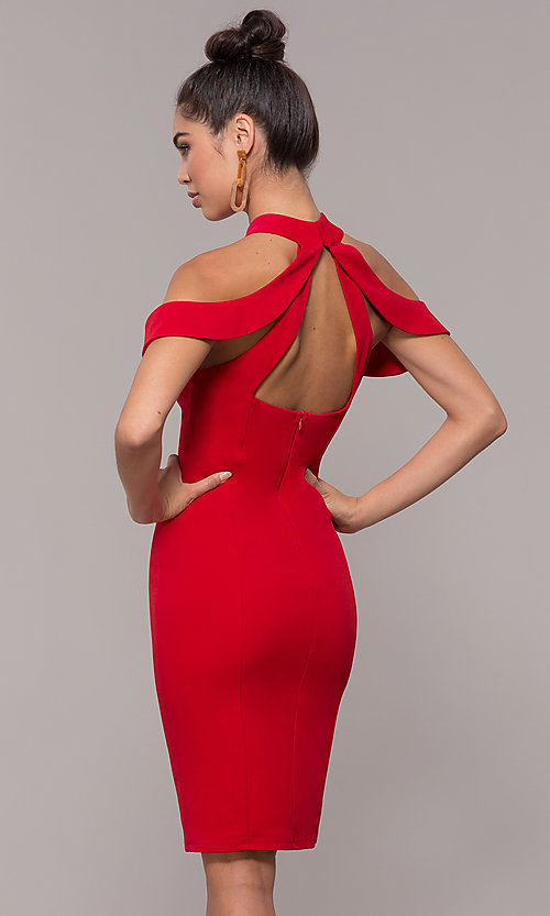 Image of high-neck cold-shoulder short prom dress by Simply. Style: MCR-SD-2661 Detail Image 4