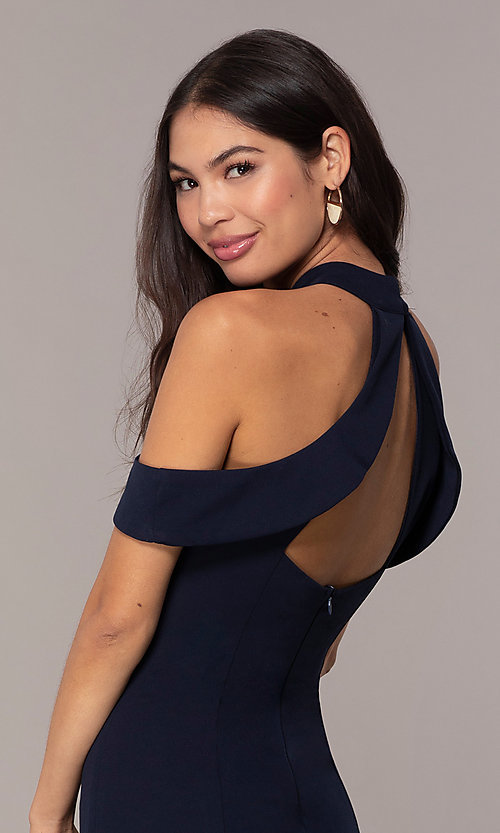 Image of high-neck cold-shoulder short prom dress by Simply. Style: MCR-SD-2661 Detail Image 1