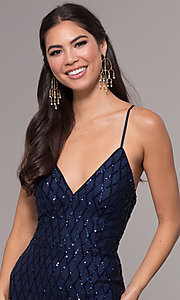 Image of long v-neck sequin-pattern prom dress by PromGirl. Style: MCR-PL-2656 Detail Image 1