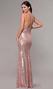 Image of sequin v-neck long prom dress by PromGirl. Style: MCR-PL-2657 Back Image