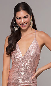 Image of sequin v-neck long prom dress by PromGirl. Style: MCR-PL-2657 Detail Image 1