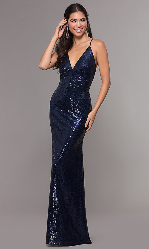 Image of sequin v-neck long prom dress by PromGirl. Style: MCR-PL-2657 Detail Image 4