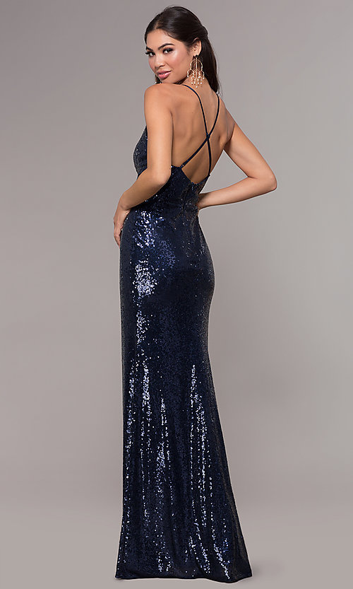 Image of sequin v-neck long prom dress by PromGirl. Style: MCR-PL-2657 Detail Image 5