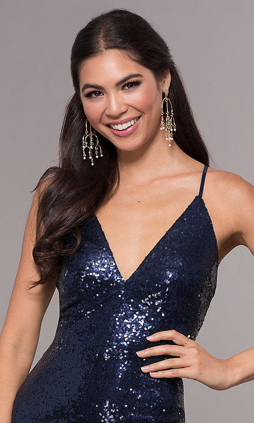 Image of sequin v-neck long prom dress by PromGirl. Style: MCR-PL-2657 Detail Image 6