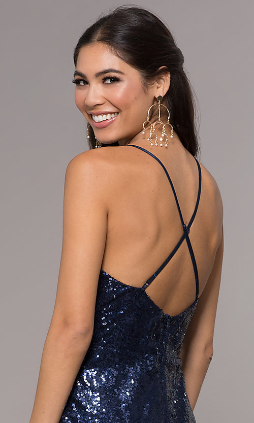 Image of sequin v-neck long prom dress by PromGirl. Style: MCR-PL-2657 Detail Image 7