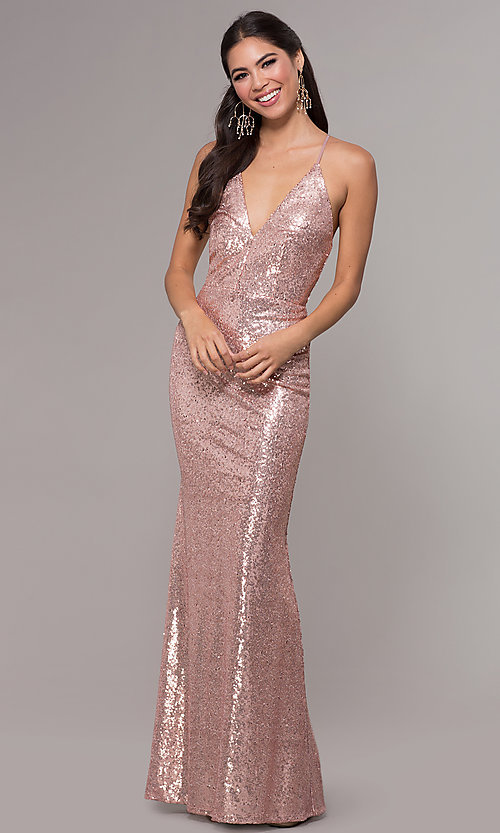 Image of sequin v-neck long prom dress by PromGirl. Style: MCR-PL-2657 Front Image