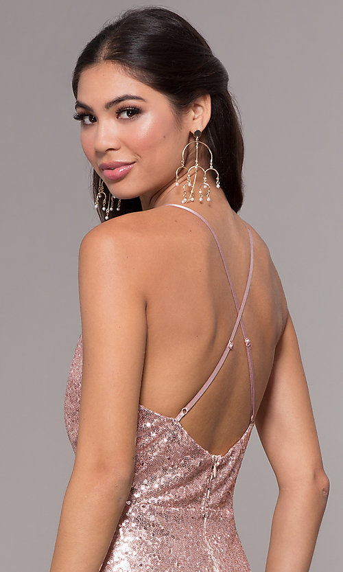 Image of sequin v-neck long prom dress by PromGirl. Style: MCR-PL-2657 Detail Image 2