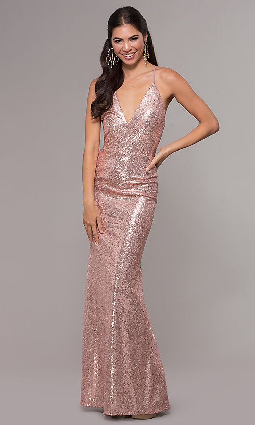 Image of sequin v-neck long prom dress by PromGirl. Style: MCR-PL-2657 Detail Image 3