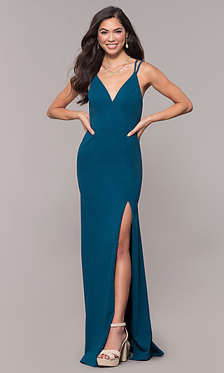 Double-Strap V-Neck Long Prom Dress by Simply