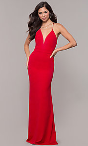 Image of open-back long v-neck prom dress by Simply. Style: MCR-SD-2654 Detail Image 4
