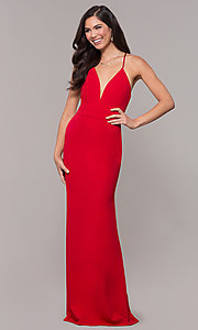 Image of open-back long v-neck prom dress by Simply. Style: MCR-SD-2654 Detail Image 8