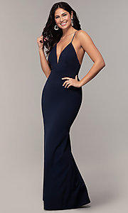 Image of open-back long v-neck prom dress by Simply. Style: MCR-SD-2654 Detail Image 3