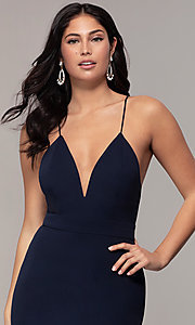 Image of open-back long v-neck prom dress by Simply. Style: MCR-SD-2654 Detail Image 1