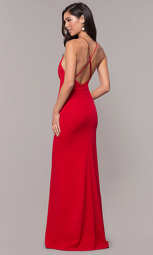Image of open-back long v-neck prom dress by Simply. Style: MCR-SD-2654 Detail Image 5