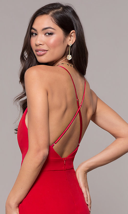 Image of open-back long v-neck prom dress by Simply. Style: MCR-SD-2654 Detail Image 7