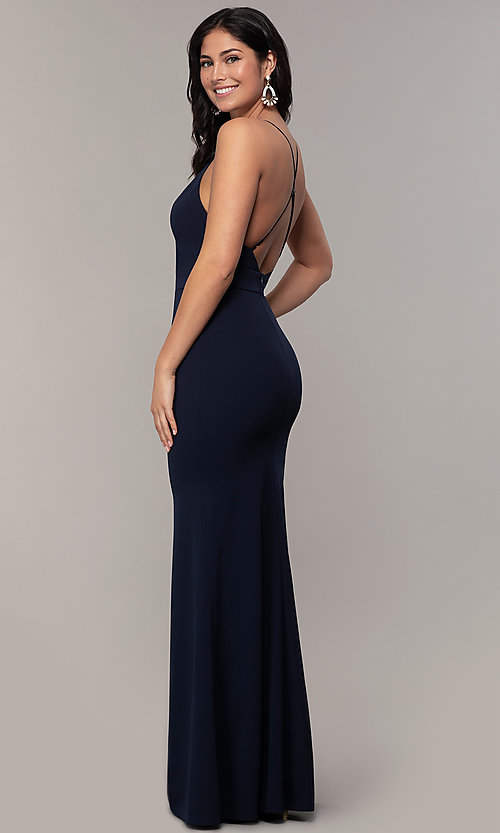 Image of open-back long v-neck prom dress by Simply. Style: MCR-SD-2654 Back Image