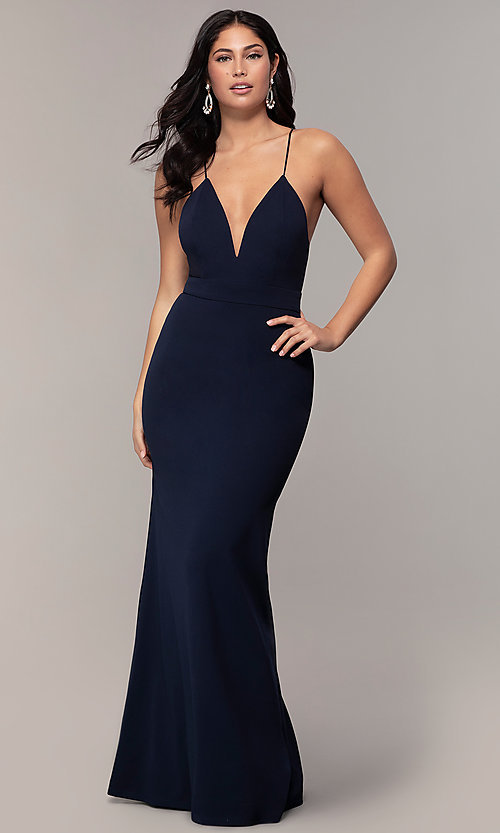 Image of open-back long v-neck prom dress by Simply. Style: MCR-SD-2654 Front Image